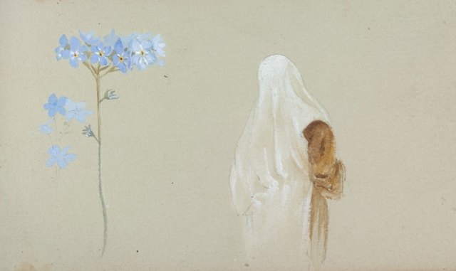 florals and robed figure and child